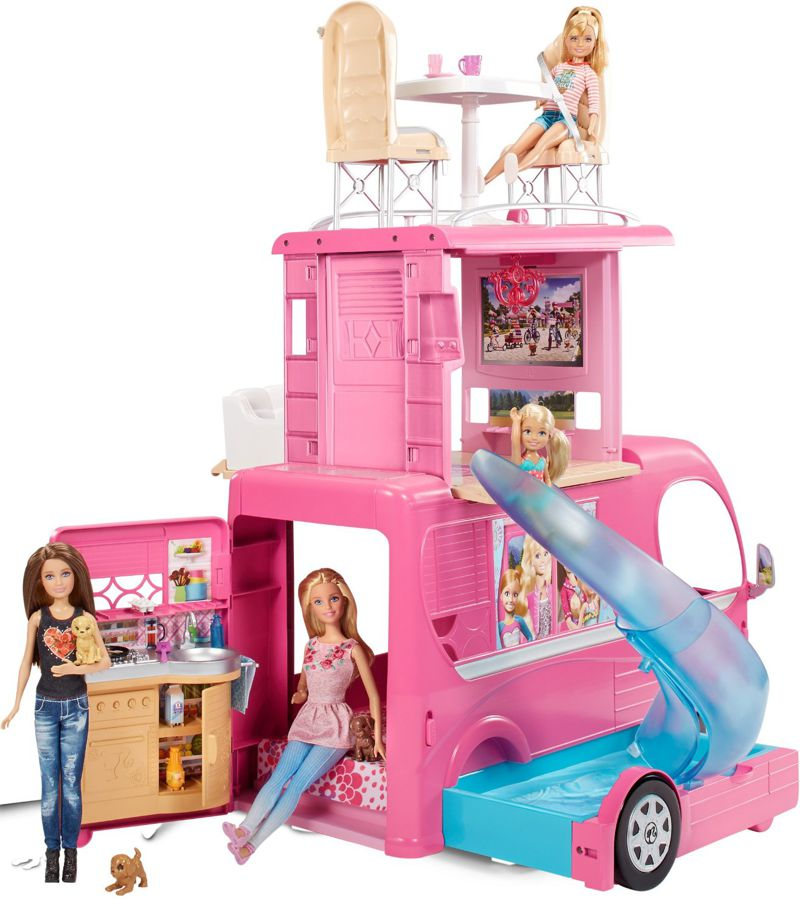 mattel cjt42 pop up kamper barbie w z kempingowy zabawki domki i w zki dla lalek ulubiony. Black Bedroom Furniture Sets. Home Design Ideas