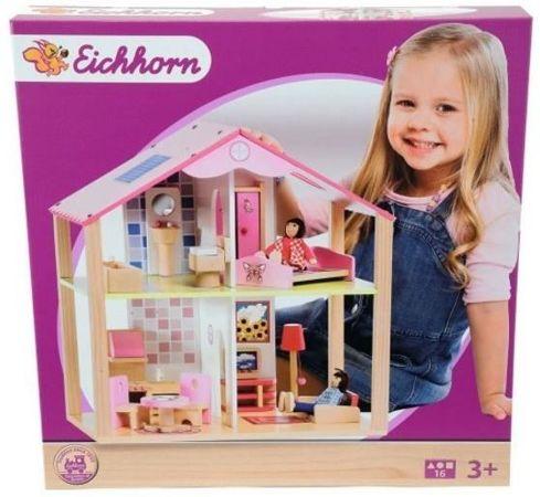 Eichhorn 2498 Mały drewniany domek dla lalek 14 elementów   -> Eichhorn Kuchnia Dla Dzieci