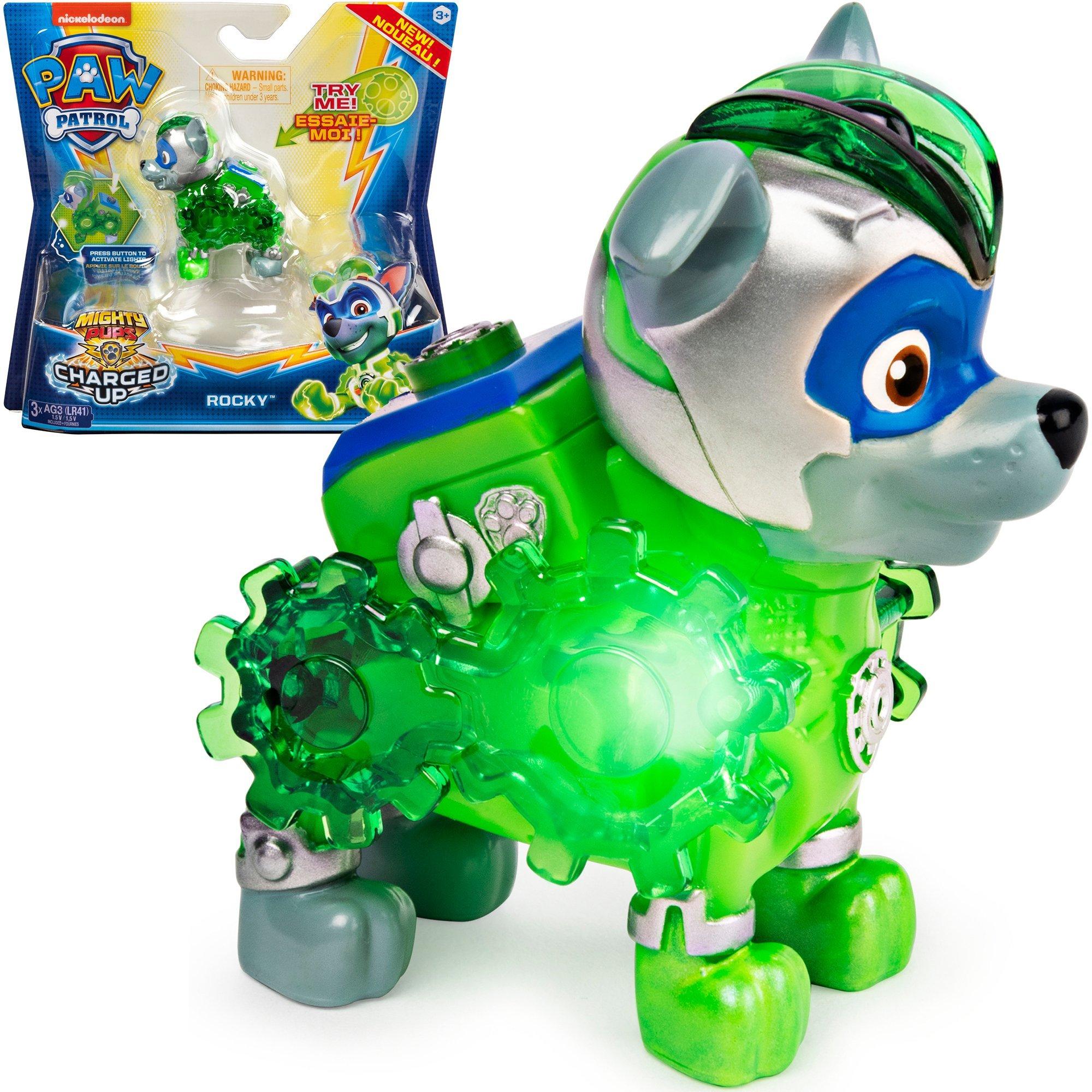 Psi Patrol figurka ze ¶wiat³em Mighty Pups Rocky