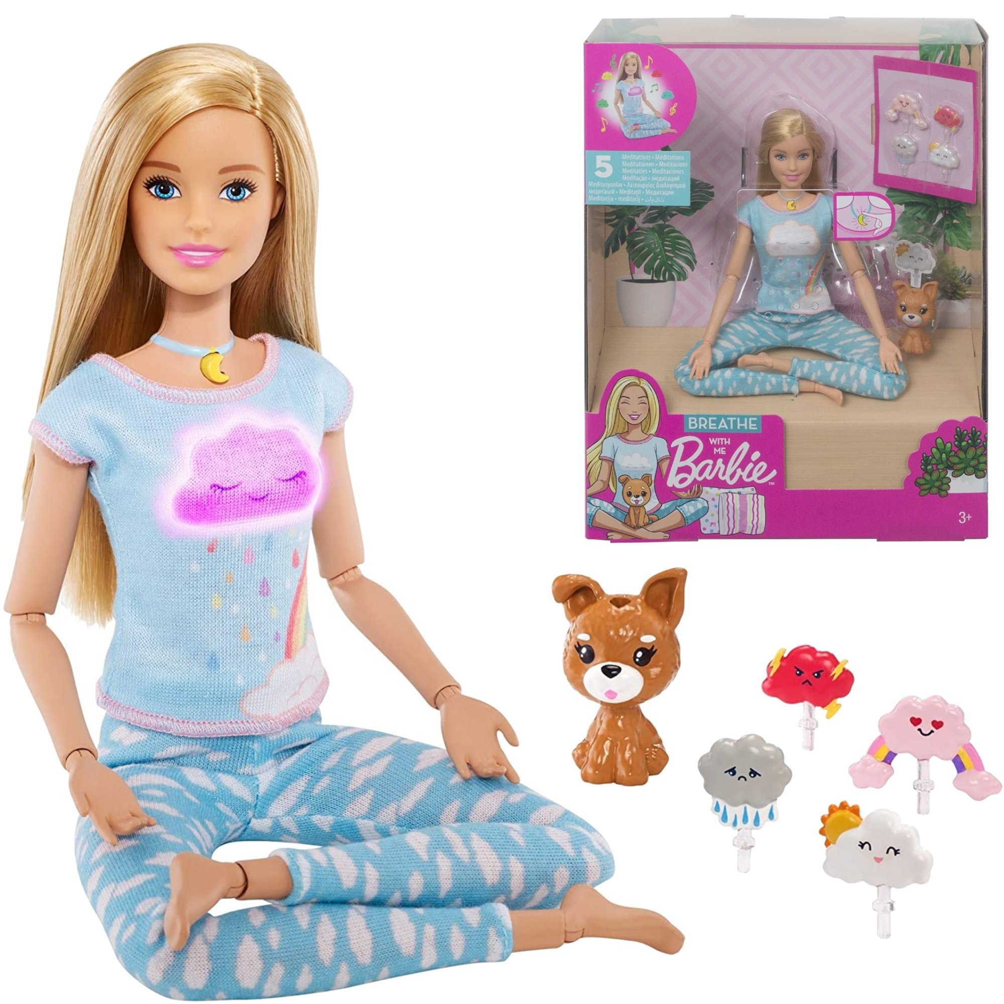 Lalka Barbie Breathe with me Medytacja z d¼wiêkiem i ¶wiat³em