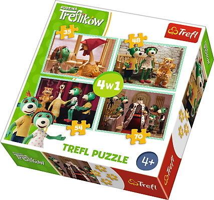 Trefl Puzzle 4w1 Nowi przyjaciele Rodzina Treflików 207 elementów