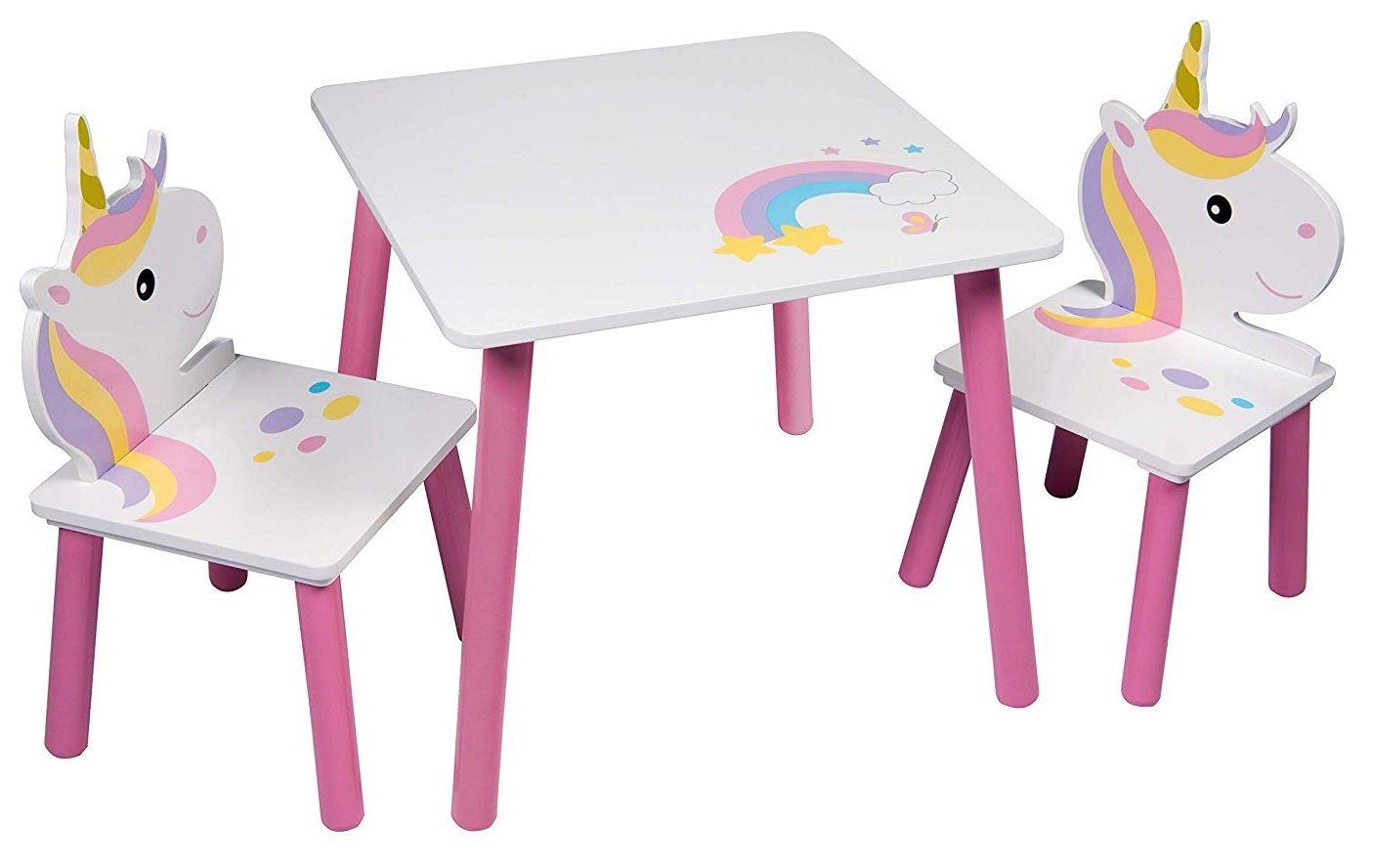 Jednorożec Drewniany Stolik I 2 Krzesełka Dla Dzieci Unicorn