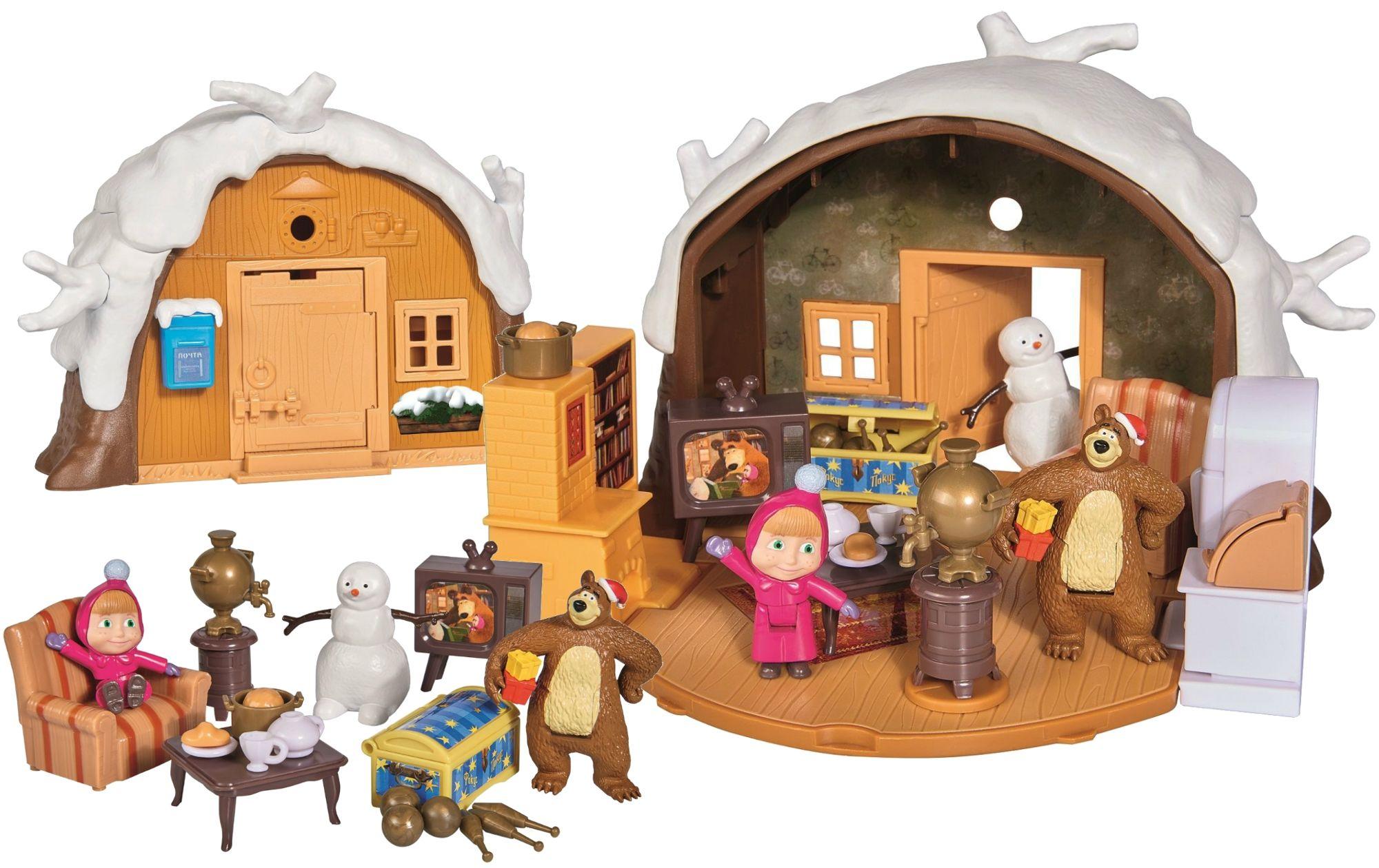 Simba Masza i Niedźwiedź Zestaw Zimowy dom domek Niedźwiedzia Miszy + figurki