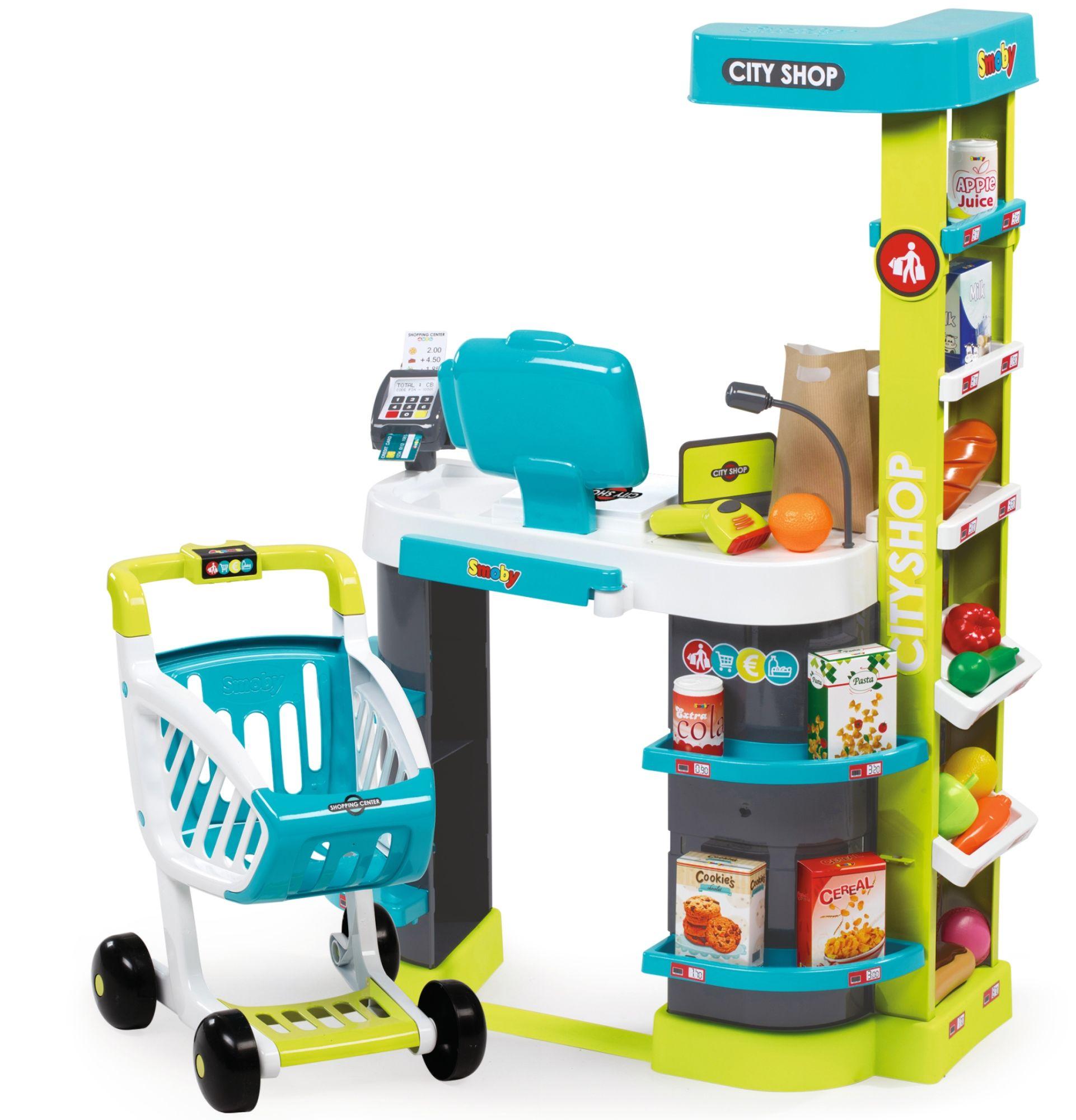 54780a68583704 Smoby Supermarket Sklep City Shop elektroniczna kasa wózek + akcesoria  Kliknij, aby powiększyć