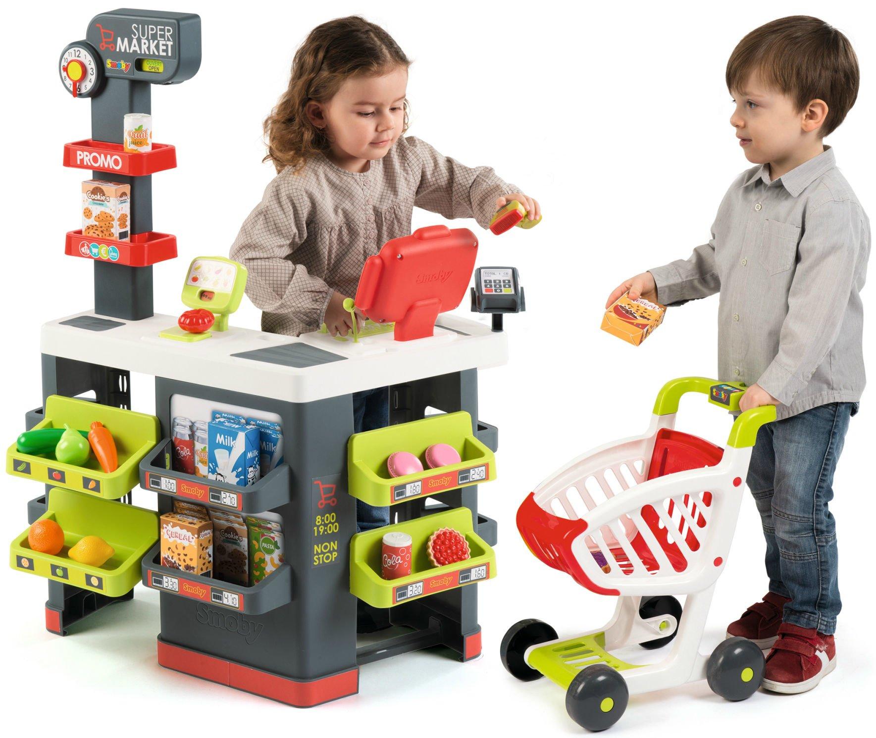 263ea072d23b95 Smoby Supermarket Sklep dla dzieci wózek sklepowy 42 akcesoria ...