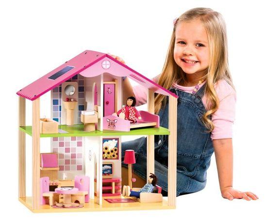 Eichhorn 2498 Mały drewniany domek dla lalek 14 elementów